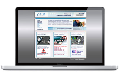 AIM Vehicle Inspections website design.